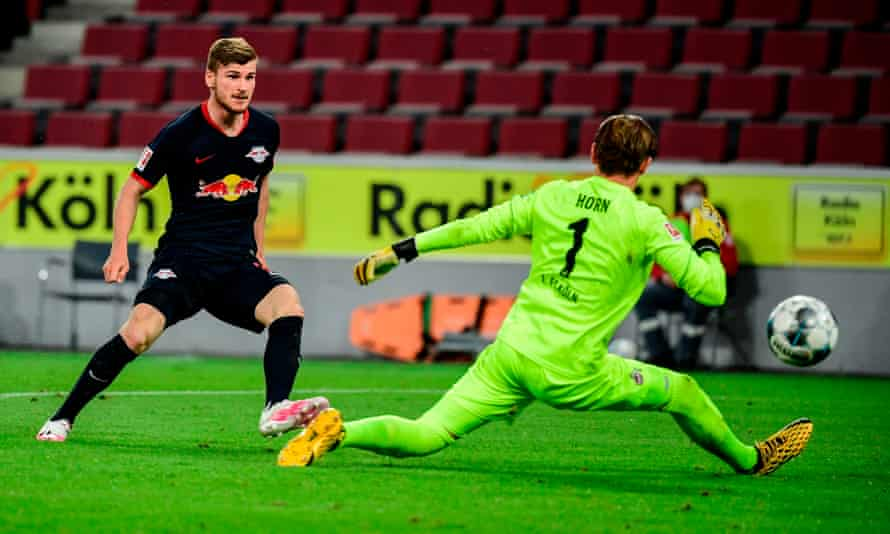 Timo Werner (here scoring against Cologne) joined RB Leipzig in 2016 and has scored 31 goals in all competitions this season.