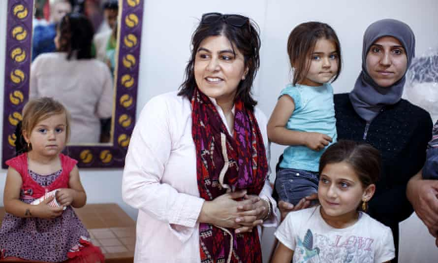 Baroness Warsi meets Syrian refugees in Hatay, Turkey, last month.