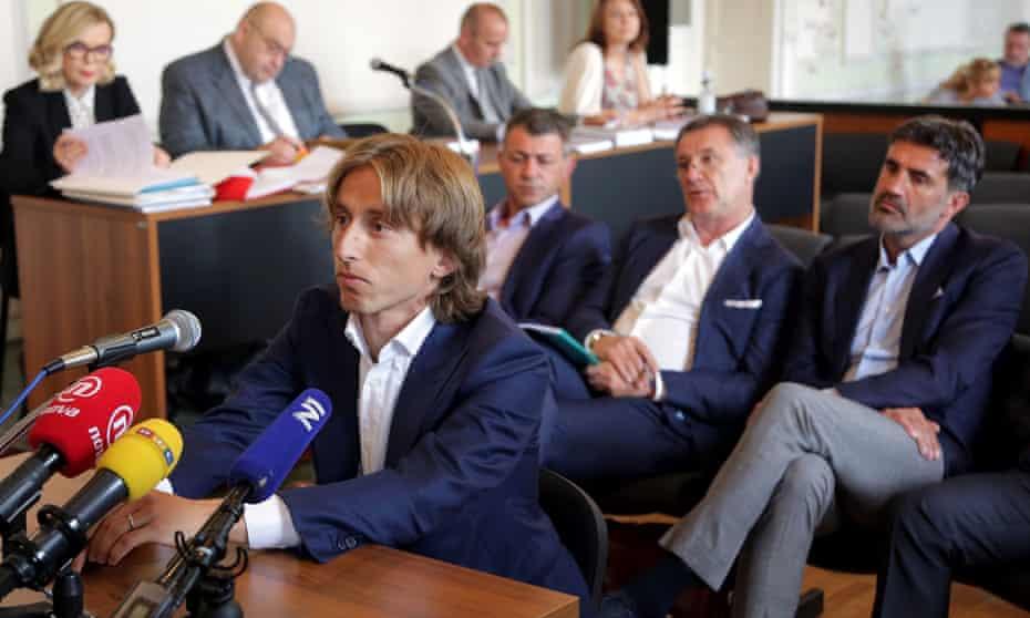 Luka Modric appears in a court in Osijek to testify in the corruption trial against former Dinamo Zagreb executive Zdravko Mamic