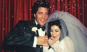 Elvis and Priscilla Presley on their wedding day on 1 May 1967