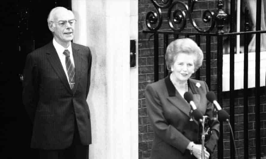 Thatcher on her last day in Downing Street.