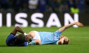 Soon Kevin De Bruyne is back in the thick of things as he clashes with Anton Rudiger.