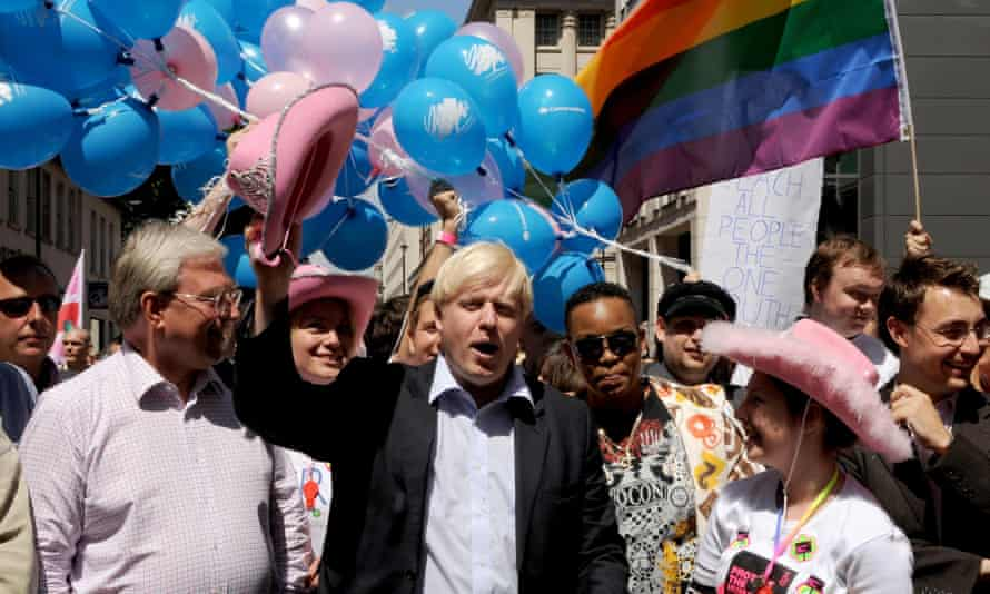 Boris Johnson at the 2008 Pride London march, shortly after being elected mayor.