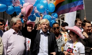 The then Mayor of London, Boris Johnson, joins revellers taking part in the Pride London parade in central London.in 2008.