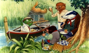The Wind in the Willows illustration of toad, mole ratty and badger, by Kenneth Grahame (1908).