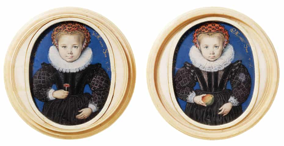 Miniatures of unknown girls aged five, left, and four by Isaac Oliver, 1590.