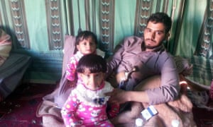Meqdad Tuaiman with his children. His father and his 17-year-old brother were killed in a drone strike in 2011, after going to look for missing camels.