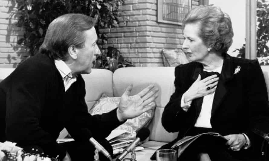 David Frost interviews Margaret Thatcher for TV-am in the 1980s.