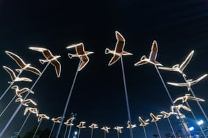 Birds fly around with you installation is displayed at the Hong Kong Pulse Light Festival International Light Art Display, Hong Kong