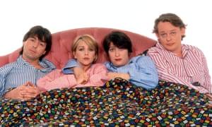 Neil Morrissey, Leslie Ash, Caroline Quentin and Martin Clunes in Men Behaving Badly.