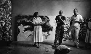 Jackson Pollock and his wife, Lee Krasner, in Pollock's East Hamptons studio.