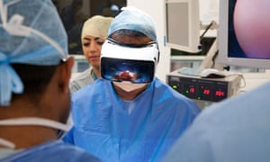 Shafi Ahmed, consultant surgeon at St Bart's hospital, using virtual reality technology.