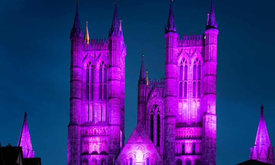 Lincoln Cathedral illuminated in purple