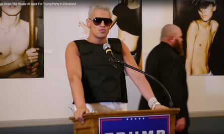 Milo Yiannopoulos speaking at the Gays for Trump party.