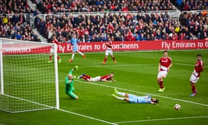 Manchester City chance in the FA Cup quarter-final at Middlesbrough