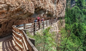 Narrow cliffside path to Sanctuary of San Romedio trentino alto adige italy