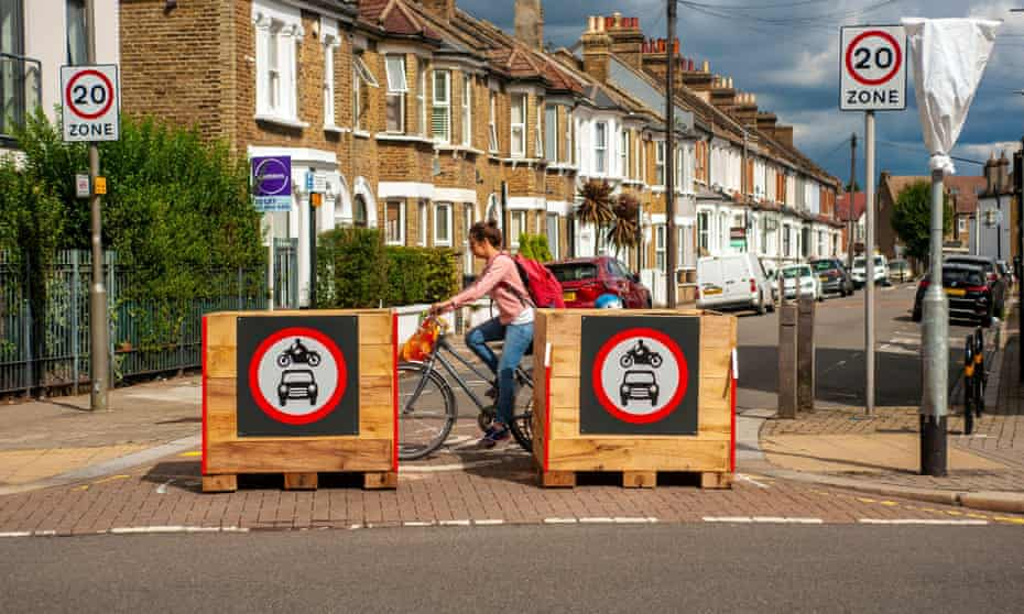 A new low-traffic neighbourhood area in Tooting, London, August, 2020
