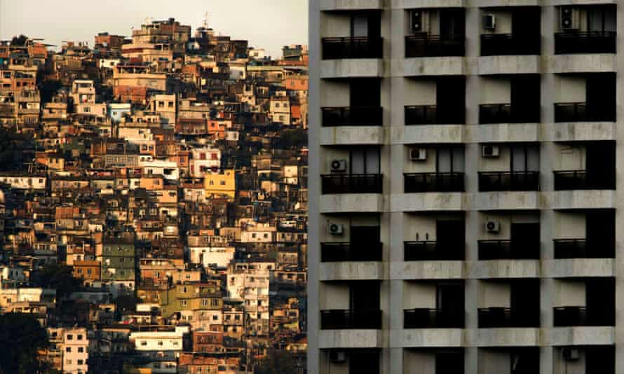 Architects and engineers visiting favelas such as Rocinha, left, in Rio de Janeiro have been astonished by the economy and ingenuity of the concrete structures.
