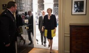 Theresa May entering No 10 Downing Street on 13 July 2016.