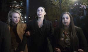 Emma Coronel (centre), the wife of Joaquin 'El Chapo' Guzmán, leaves Brooklyn federal court after opening arguments