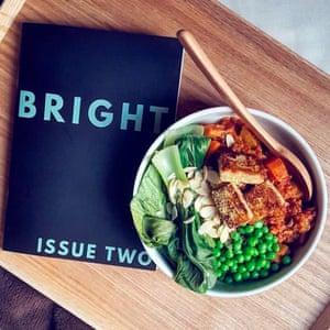 Freekeh and sweet potato stew and vegan magazine Brightzine