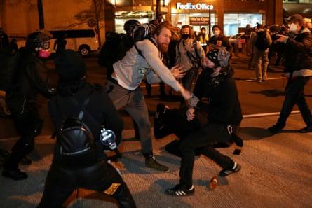Rival groups clash in Washington.