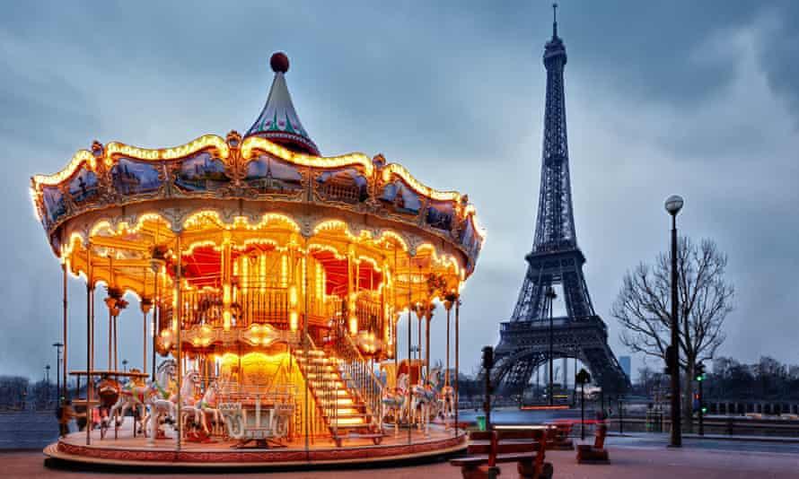 Vintage carousel near the Eiffel Tower, Paris