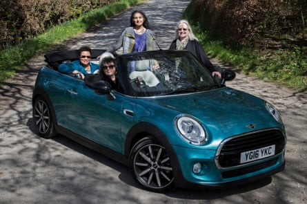 Four poets in a Mini. Clockwise from driver's seat: Carol Ann Duffy, Jackie Kay, Imtiaz Dharker and Gillian Clarke