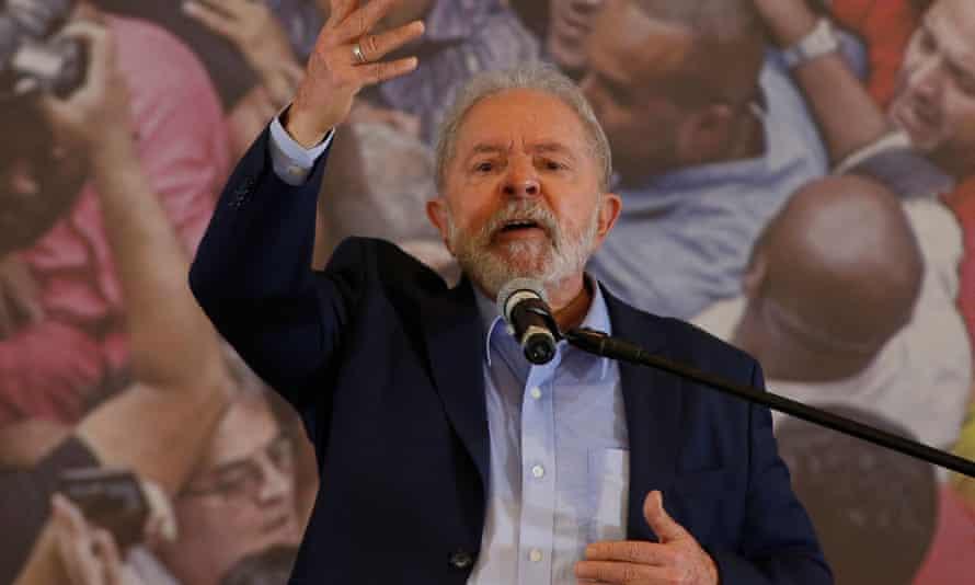 Brazilian former president Luiz Inácio Lula da Silva, delivers a press conference at the metalworkers' union building in Sao Bernardo do Campo, in Sao Paulo on Wednesday.