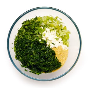Fry your onions, then add feta, herbs and bulgur wheat to your well-wrung spinach...