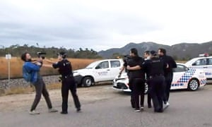 French journalist Hugo Clément and his film crew are arrested by Australian police after filming an anti-Adani protest at the entrance to the Abbot Point coal-loading facility in north Queensland on 22 July.