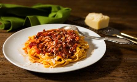 Tagliatelle pasta with bolognese