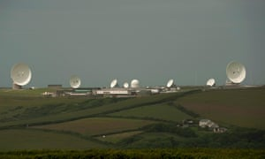 Satellite dishes at GCHQ's outpost at Bude in Cornwall.