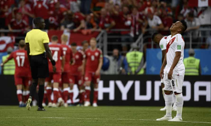 Christian Cueva reacts to Denmark's goal. The Peru midfielder missed a first-half penalty.