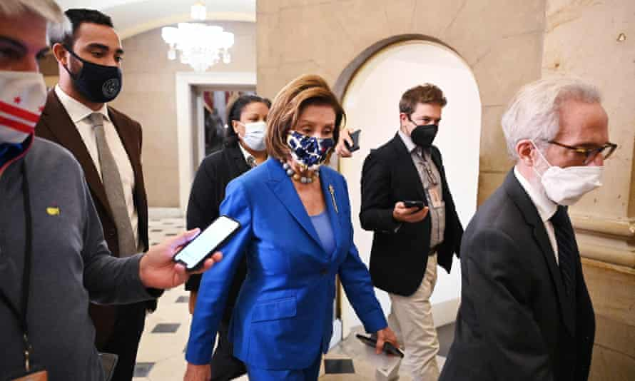 Nancy Pelosi, the House speaker, on the way to the chamber on Tuesday