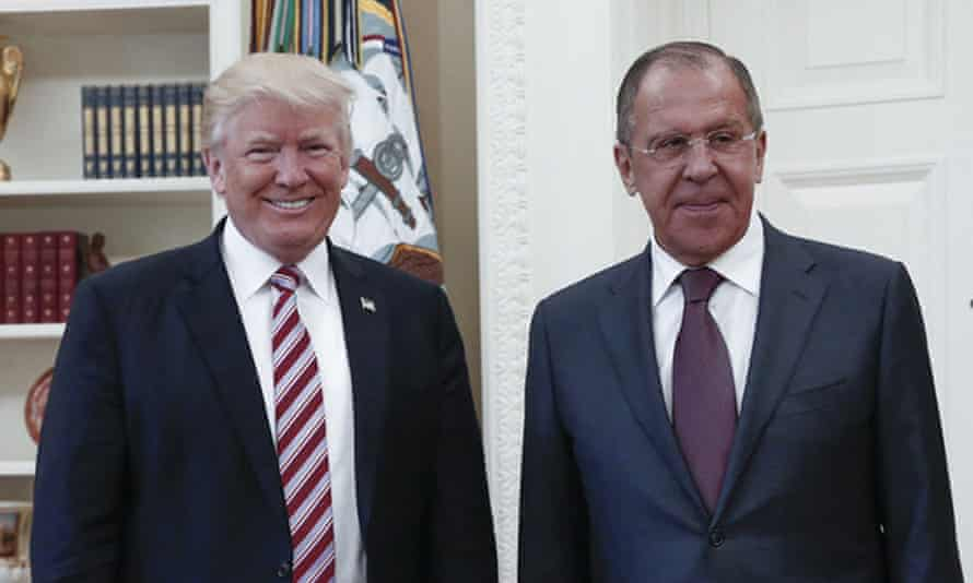 Donald Trump with the Russian foreign minister, Sergei Lavrov