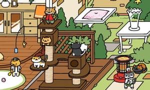 A screenshot from the mobile phone game Neko Atsume