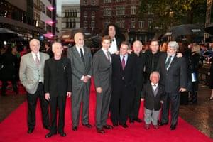 Jeremy Bulloch with Anthony Daniels, Christopher Lee, Hayden Christensen, Peter Mayhew, Ian McDiarmid, Ewan McGregor, Kenny Baker and George Lucas in 2005