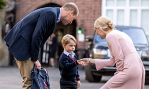 Prince George arriving for his first day at Thomas's, Battersea, in September 2017