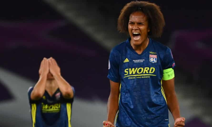 Lyon captain Wendie Renard shows her delight at the final whistle