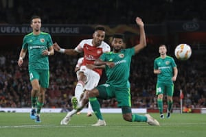 Aubameyang scores The Gunners third.