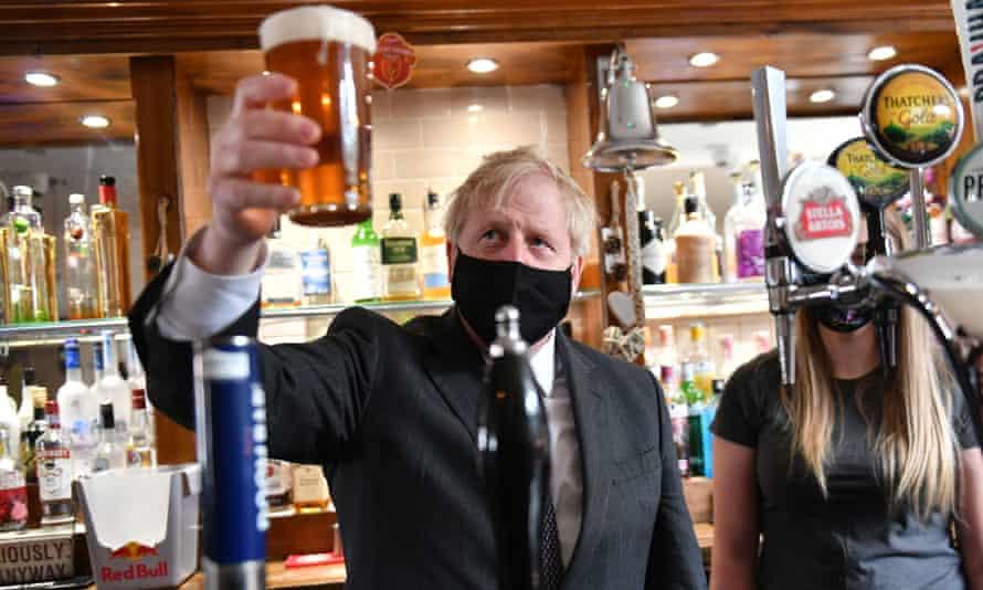 Boris Johnson visits the Mount Tavern in Wolverhampton in April 2021.