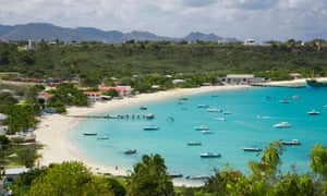 Bay area and seaside, with pleasure craft dotting the bay, in Anguilla, Caribbean.