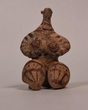 A clay figurine of a fertility goddess, c5,000 BC.