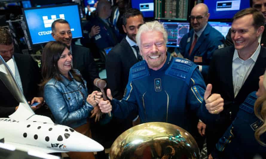 Richard Branson opens trading on the floor of the New York Stock Exchange