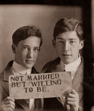 "p89 Together, in that middle photo, approximately 120 years ago, they each held the opposite edge of a sign that reads: ""Not Married But Willing To Be."" They posed for that photo (p. 89) in a very different world than the one we live in today. p. 89 Photo strip Undated 35 × 27 mm Provenance: US"