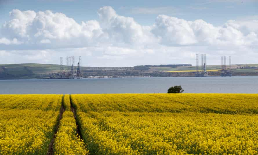 Disused drilling and shallow water rigs in the Cromarty Firth, Scotland