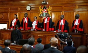 Kenya's supreme court judges before delivering the ruling making last month's presidential election in which Uhuru Kenyatta's win was declared invalid.