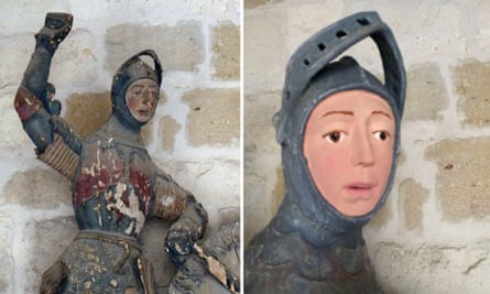 The 16th-century wooden figure of St George in Estella before and after its restoration.