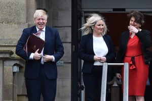 Belfast, UK Prime Minister Boris Johnson is greeted by First Minister, Arlene Foster of the DUP and Deputy First Minister Michelle O'Neill, RIGHT, of Sinn Fein at Stormont
